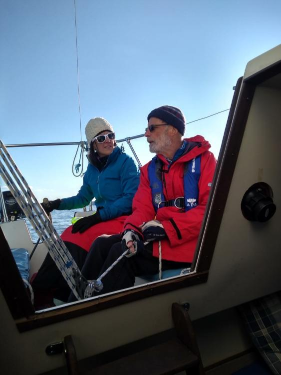 Jayne sailing with her father