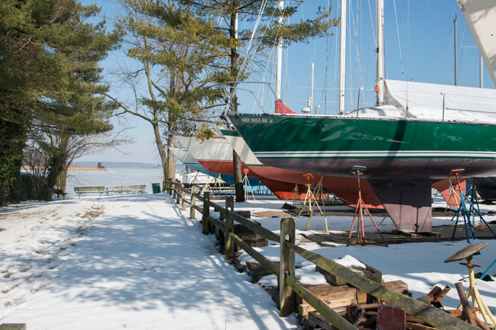 check on sailing boats in winter