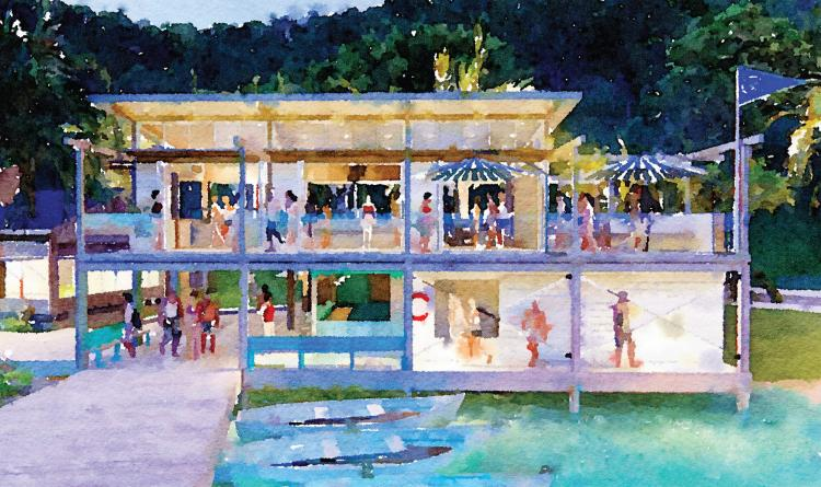 Bitter End Yacht Club Quater Deck Building Watercolor