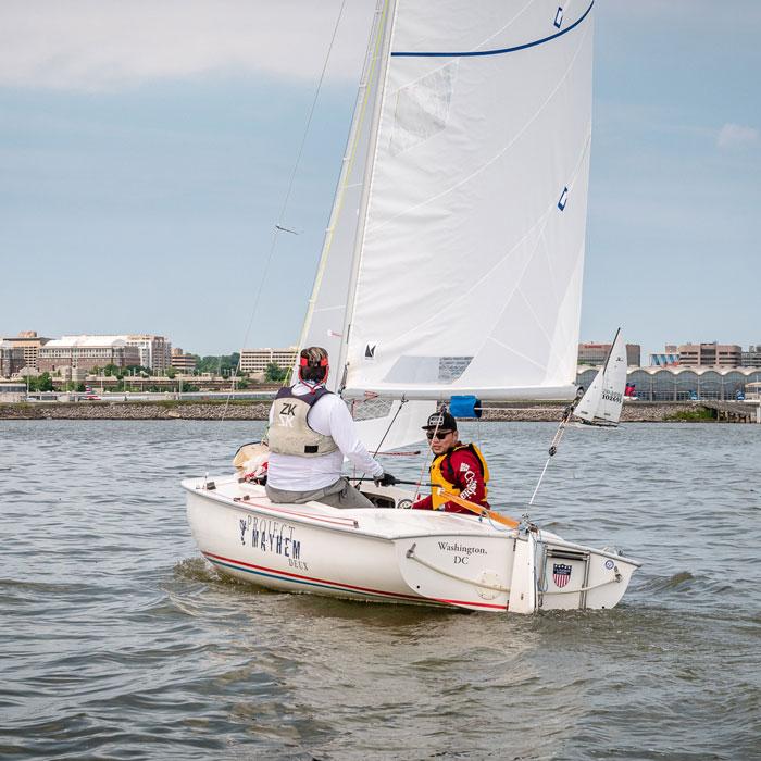 sailing with a tiller