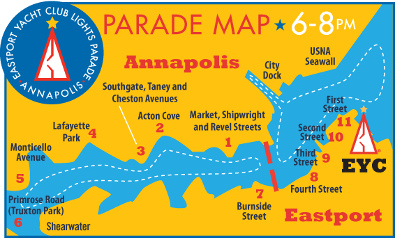 EYC Lighted Boat Parade Map provided by Eastport Yacht Club