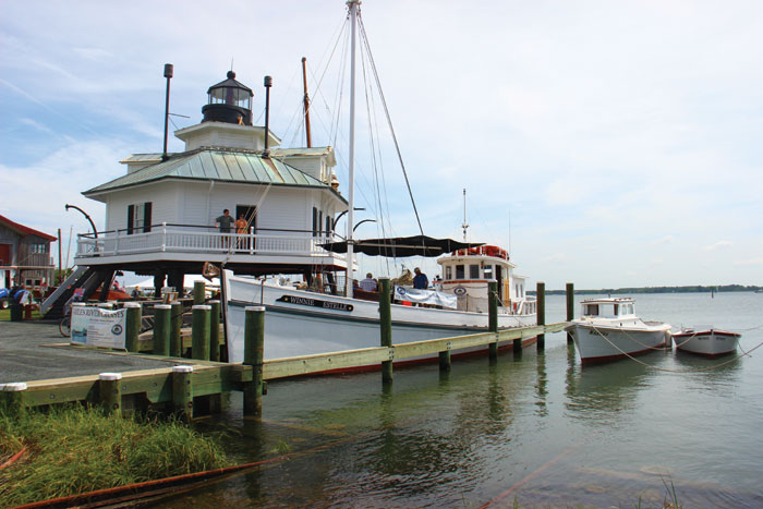 Guests to the Chesapeake Bay Maritime Museum may climb to the top of the 1879 Hooper Strait Lighthouse.
