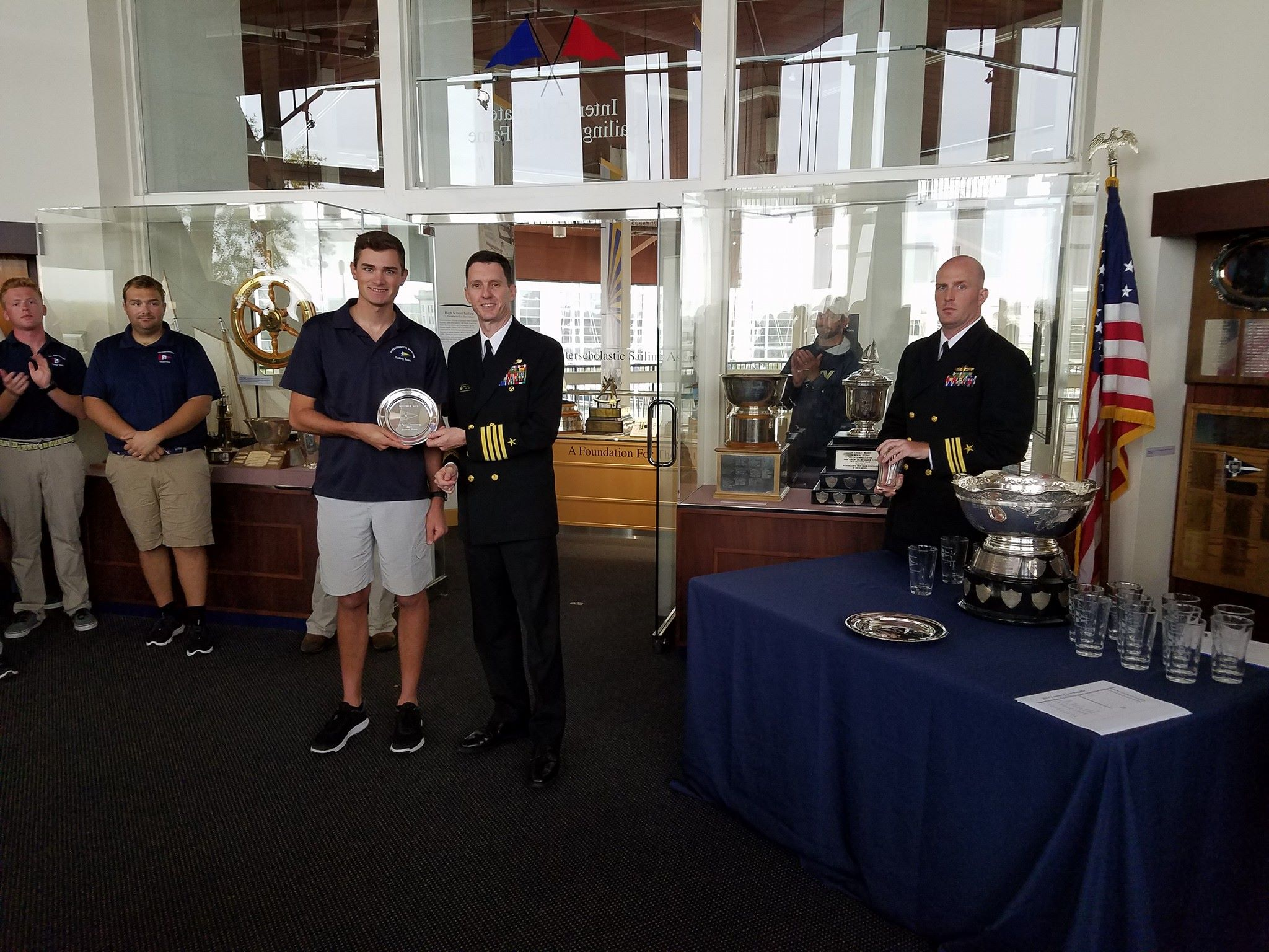 Massachusetts Maritime taking home the second place trophy. Photo from USNA VOST Facebook page