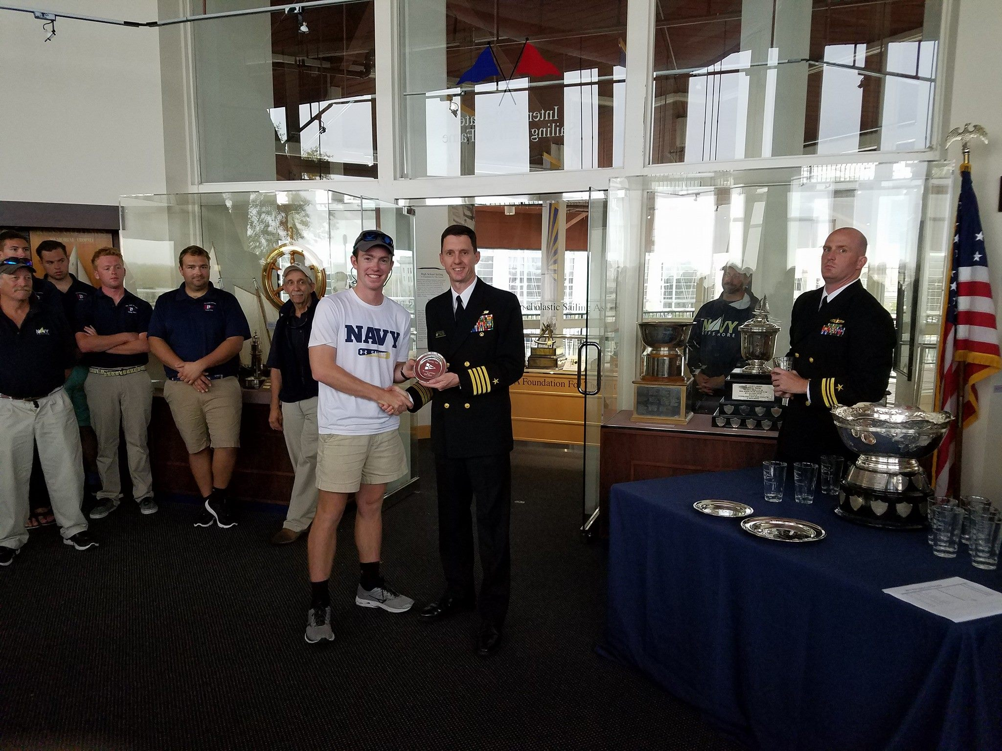 VOST Skipper Teddy Papenthien and his crew proudly represented USNA! Photo from USNA VOST Facebook page