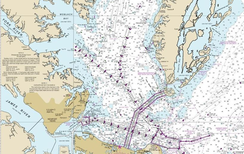 The entrance to the Chesapeake Bay from the Atlantic. NOAA chart