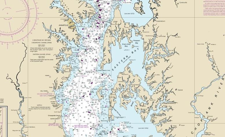 The middle Chesapeake, home of the SpinSheet World Headquarters in Eastport! NOAA chart