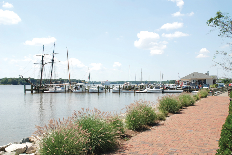 The waterfront promenade in Chestertown, MD. Photo by Bernadette Bowman