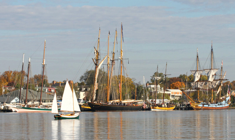 Tall ships convene on Chestertown's waterfront each November. Photo by Eric Moseson