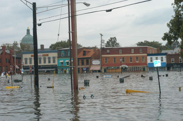 Downtown Annapolis after Hurricane isabel in 2003. Photo by Dave Gendell