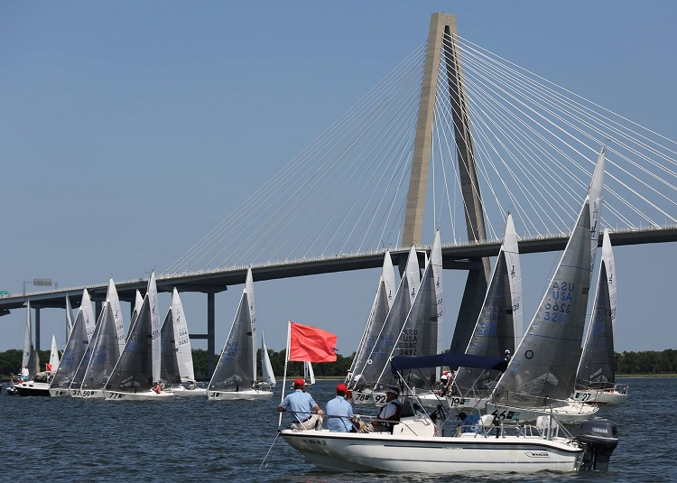 Racing right next to the Arthur Ravenel Jr. Bridge - it's a beautiful, complex place to sail. Photo courtesy of Charleston Race Week's Facebook page.