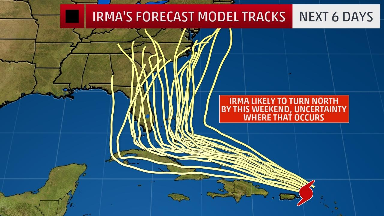 all the possibilities of Irma's arrival should narrow as she gets closer to the U.S.