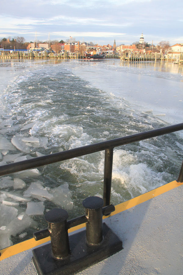 Breaking ice out of Annapolis Harbor. Photo by Craig Ligibel