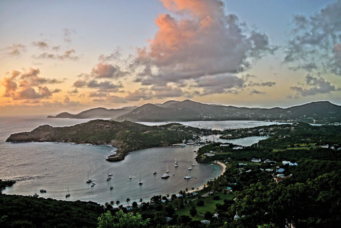Falmouth Harbor, Antigua, taken from Shirley Heights. Photo by Phillip Gillihan, skipper of SV Parallax