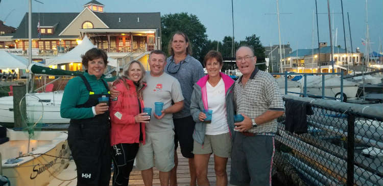 The winning crew on the J/30 Infectious Smile. Photo courtesy of Heather Ersts