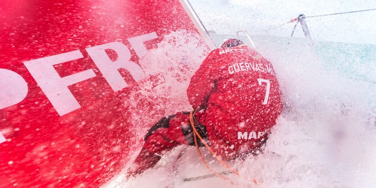 Good news, Mr. Bow Guy -- it only gets wetter and wilder from here. -- photo from volvooceanrace.com