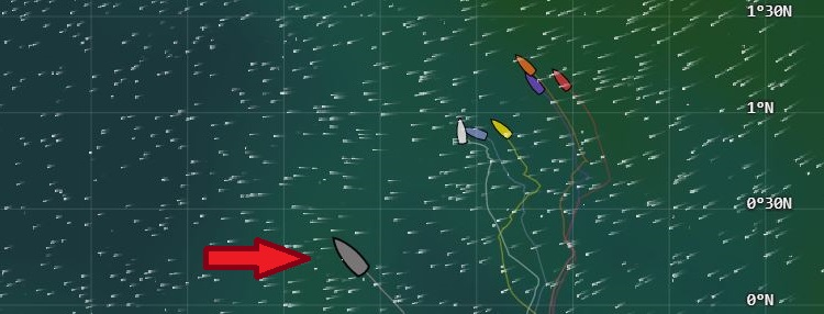 While the fleet compressed and battled it out within sight of each other, Scallywag rolled the dice. Capture from volvooceanrace.com.
