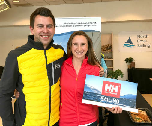 Brady and Elana with Helly Hansen sporting their new gear at North Cove Sailing in Manhattan before hopping on a boat to meet Thomas Coville in Brooklyn. Photo by SpinSheet
