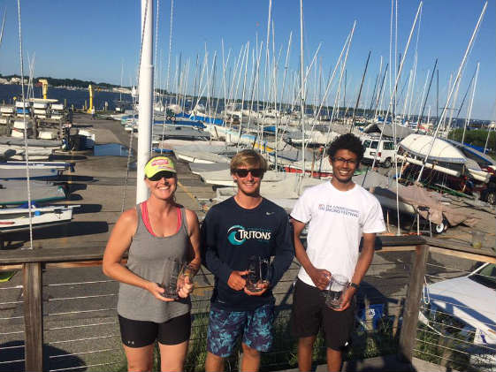 Winning SSA Laser Radial sailors: Kim Couranz, Andrew Schoene, Rishab Nayar. Photo by Scott Williamson