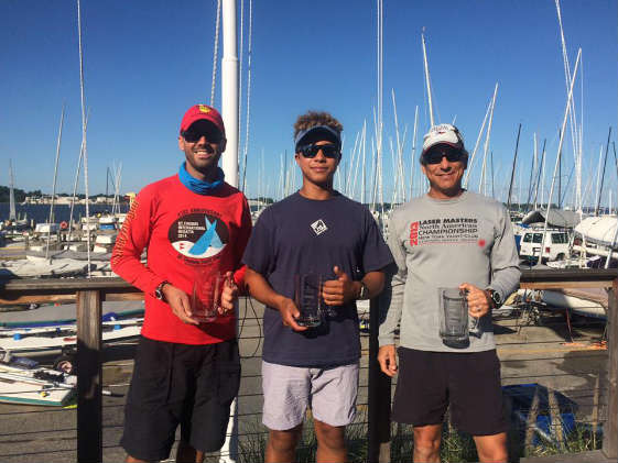 Winning SSA Laser sailors: Dave Waiting, Leo Boucher, Bob Tan. Photo by Scott Williamson