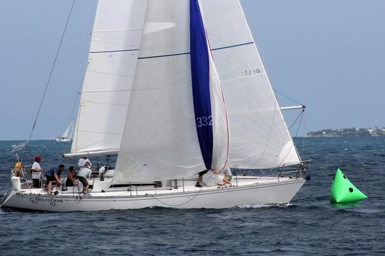 Molto Bene under full sail at the 2015 Conch Republic Cup off Cuba.