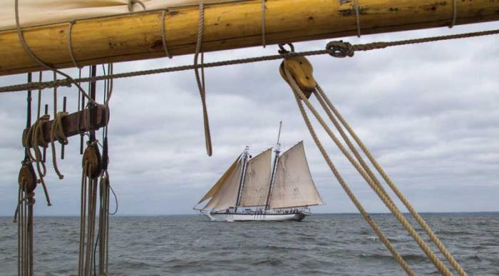 The Harvey Gamage under full sail in the distance. Photo by Eric Moseson