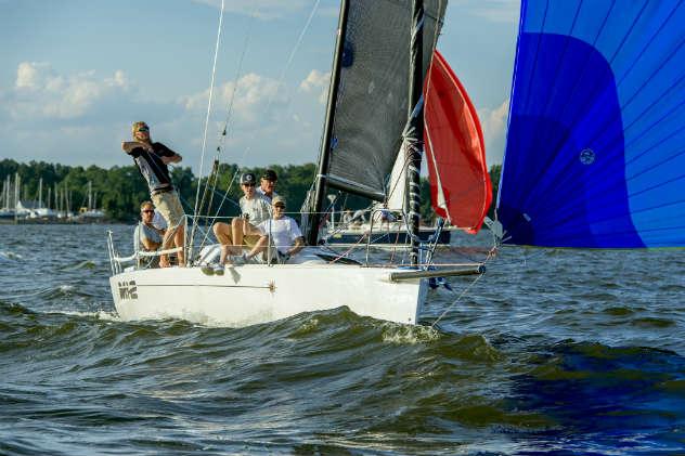 The start of an overnight sailboat race. Photo by Al Schreitmueller