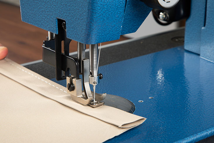 Seen here, the double hem hides the raw fabric edge giving your project a nice, clean look.