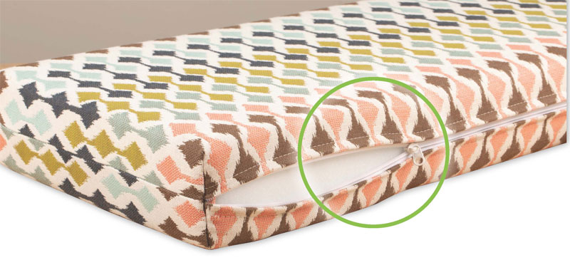 Adding a zipper plaque to your cushions allows you to insert or remove the cushion foam when you need to clean your cushion cover or replace your foam.