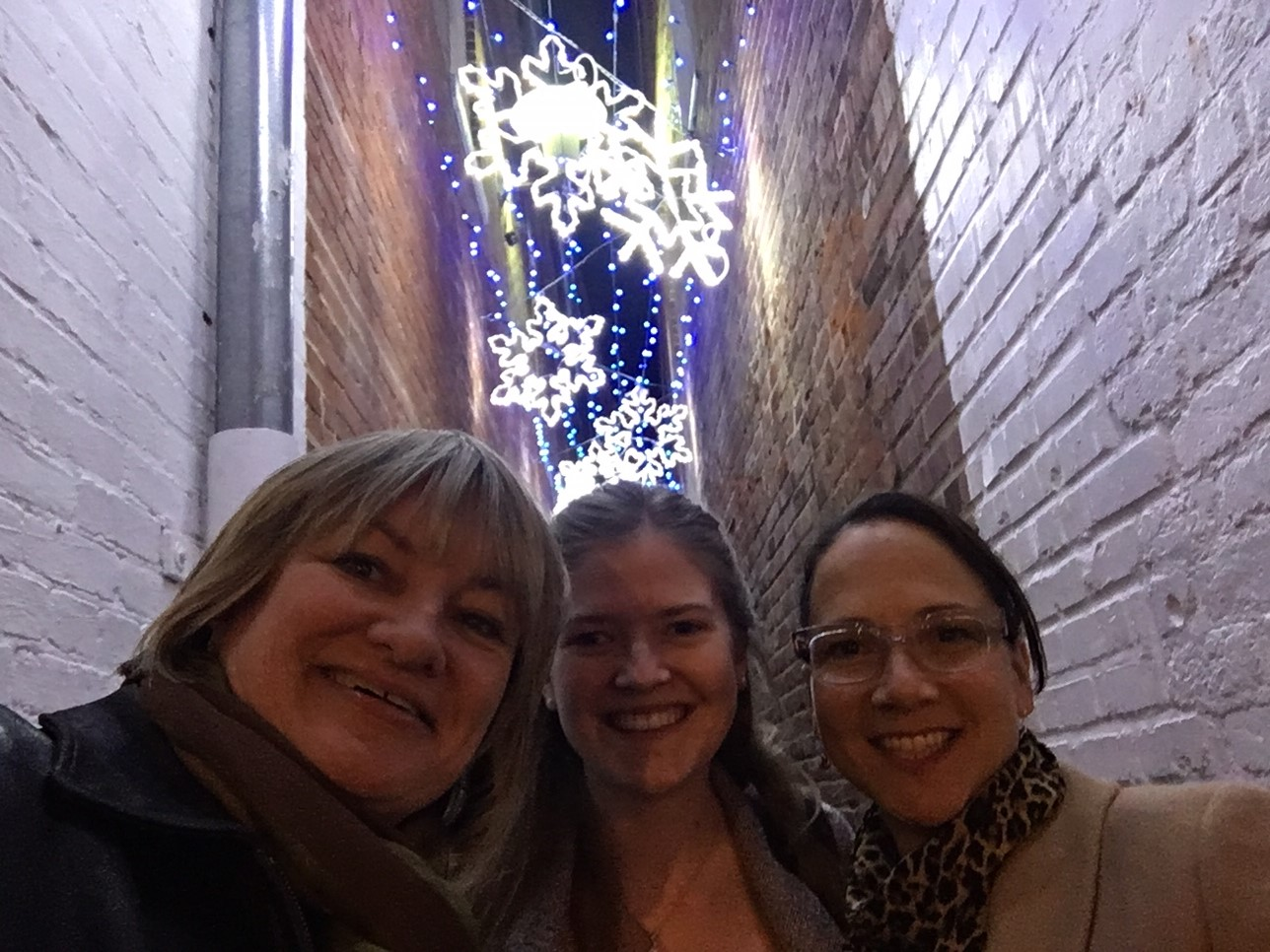 Selfies in Snowflake Alley in downtown Annapolis have become part of the Midnight Madness tradition. Photo courtesy of Maureen Peterson