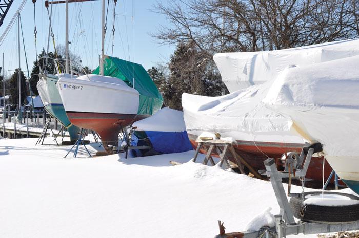 Snowy boatyard by Schreitmueller