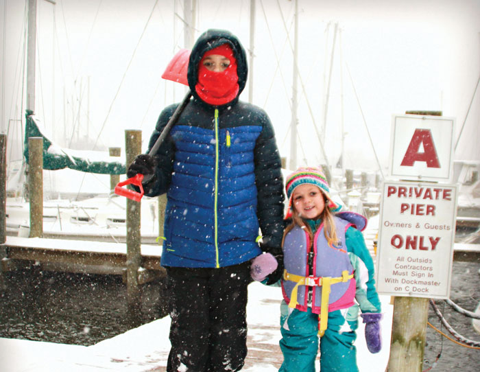 Non-skid boots or webs over regular boots provide extra traction on snowy docks. Photo by Cindy Wallach