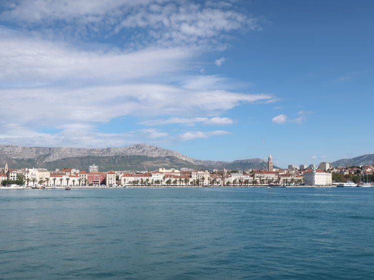 A view across the harbor of downtown Split, Croatia.
