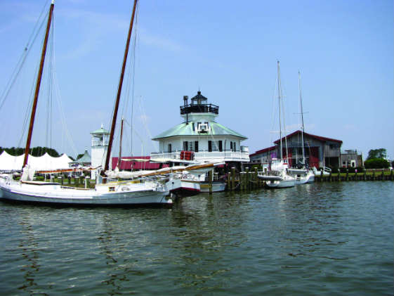 The Hoopers Strait Lighthouse rests on the campus of the Chesapeake Bay Maritime Museum.