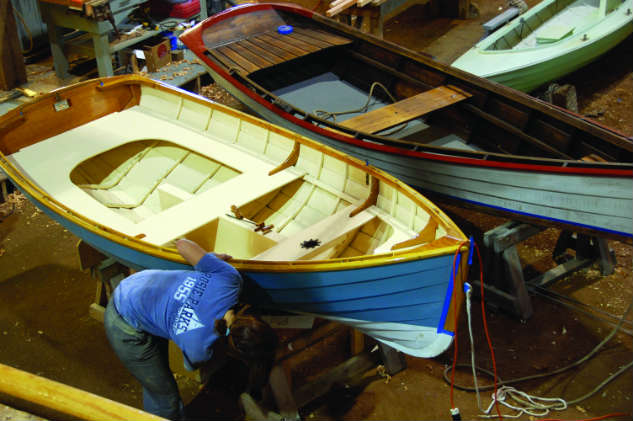 Small craft building takes place in public view at the Chesapeake Bay Maritime Museum. Photo by CBMM