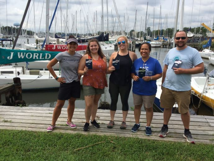The Crew after receiving their US Sailing Basic Keelboat certification. From left to right, Koralina McKenna, Megan Jordan, Hannah Smith, Krishna Dominguez, Justin Celmer
