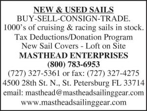 Masthead Enterprises has new and used sails available to buy, sell, consign, or trade. 1000's of cruising & racing sails in stock. Tax Deductions/Donation Program. New sail covers with a sail loft on site.<br><br>