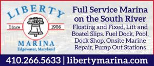 Liberty Marina is a full service marina on the South River in Edgewater, Maryland. Floating and Fixed, Lift and Boatel slips, fuel dock, pool, dock shop, onsite marine repair, and pump out stations.