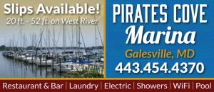 Pirates Cove Marina located in Galesville, Maryland has slips available on the West River.