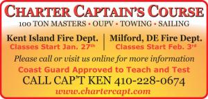 Classes for 100 Ton Masters, OUPV, Towing, and Sailing in Kent Island and Milford, Delaware.