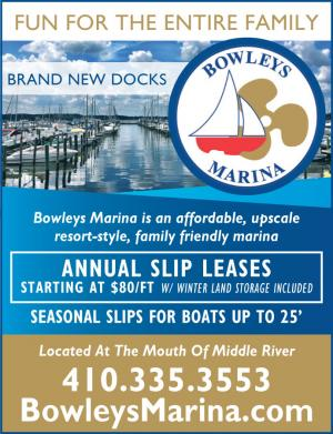 Fun for the entire family at Bowleys Marina located at the mouth of Middle River, Annual slip leases starting at $80/ft.