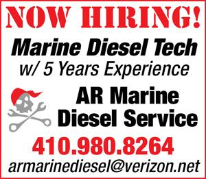 Now hiring marine diesel tech with 5 years experience. AR Marine Diesel Service - 410.980.8264. armarinediesel@verizon.net