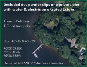 Secluded deep water slips at a private pier with water & electric on a Gated Estate off Rock Creek