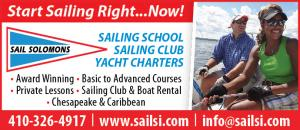 Sail Solomons - SAILING SCHOOL, SAILING CLUB, YACHT CHARTERS. Award Winning,Basic to Advanced Courses, Private Lessons, Sailing Club & Boat Rental, Chesapeake & Caribbean<br>