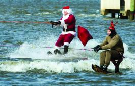 Waterskiing Santa off Alexandria, VA. Photo by Nick Eckert