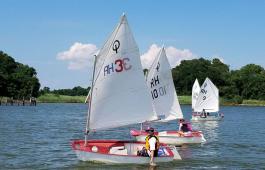 A light-air day at Rock Hall Yacht Club sailing school