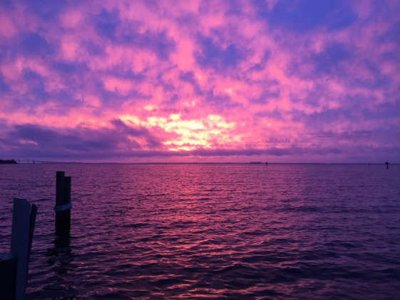 Red sky at morning, sailors take warning. But what about a pink and purple sky at morning?