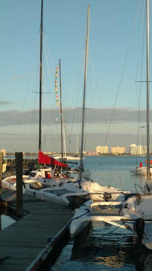 Multihulls at dock in Sarasota, FL