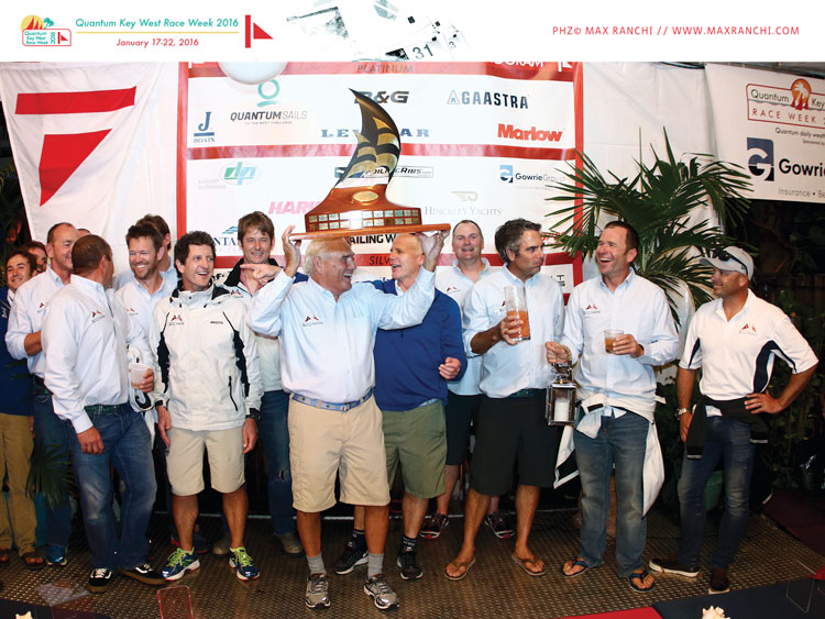 Hap Fauth and Terry Hutchinson celebrate Bella Mente winning the Quantum Boat of the Week trophy. Photo by Max Ranchi for Key West Race Week.
