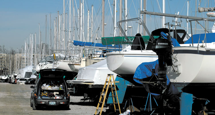 Everyone waits until the first nice weekend, but boat yards suddenly go from working on five boats to 200 at once!