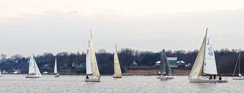 Frostbiting in Annapolis on the Severn River. Photo by SpinSheet